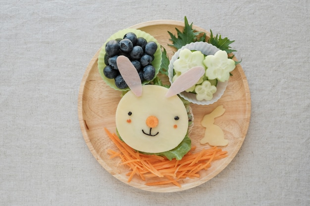 Easter bunny lunch plate, fun food art for kids