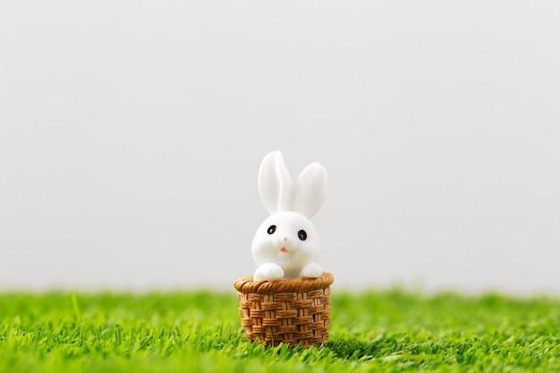 잔디에 부활절 토끼