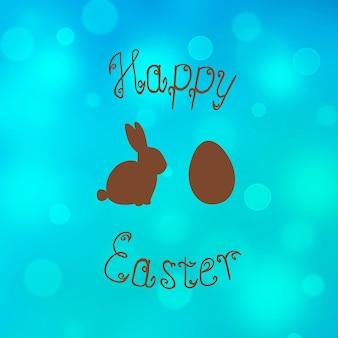 Пасхальный кролик кролик яйцо охота фон. бирюза счастливой пасхи шаблон дизайна рисованной иллюстрации. поздравительная открытка с яйцом кролика кролика и текстом. коричневый рисунок на бирюзовом фоне боке