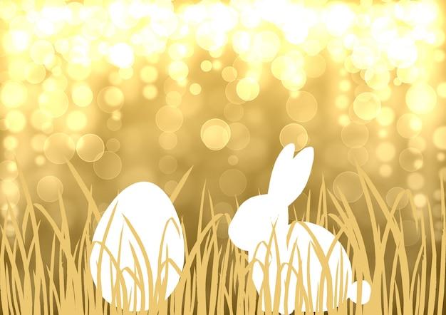 부활절 토끼 달걀 사냥은 보케 효과가 있는 금색 배경입니다. 황금과 흰색 행복 한 부활절 템플릿 디자인 손으로 그린 그림. 토끼 토끼 계란 잔디와 인사말 카드