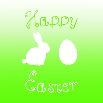 Easter bunny rabbit egg hunt lime green gradient background. bright green happy easter template design hand drawn illustration. greeting card with rabbit bunny, egg and text