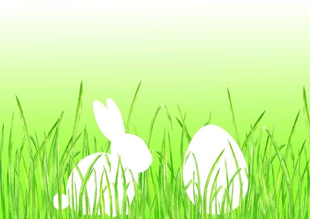 Пасхальный заяц кролик яйцо охота лайм зеленый градиент фона. счастливой пасхи шаблон дизайна рисованной иллюстрации. открытка с кроликом, яйцом, зеленой травой и пространством для текста
