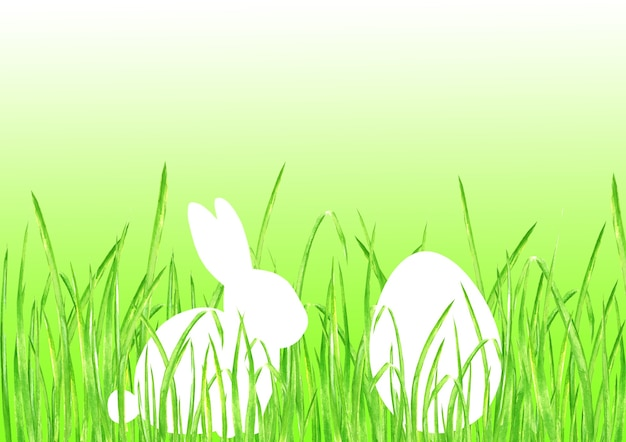 Easter bunny rabbit egg hunt lime green gradient background. happy easter template design hand drawn illustration. greeting card with rabbit bunny egg green grass and space for text