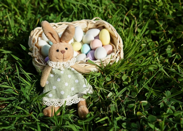 Easter bunny with small basket of easter eggs