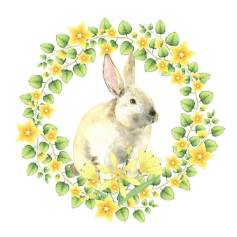 Easter bynny in blooming wreath.