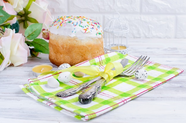 Easter cake and place setting for easter