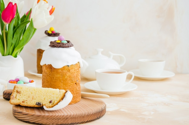 Easter cake - traditional kulich with easter eggs. paska easter bread.