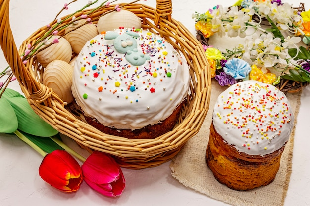 Easter cakes on white putty background. traditional orthodox festive bread