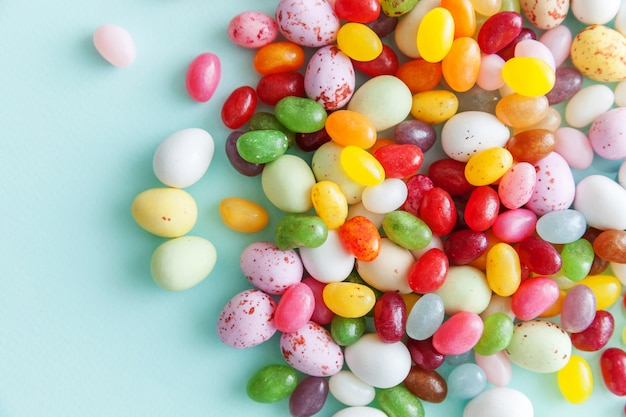 Easter candy chocolate eggs and jellybean sweets