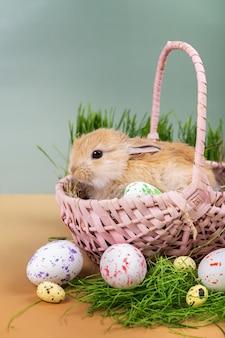 부활절 카드-그린 된 부활절 달걀으로 분홍색 고리 버들 세공 바구니에 작은 장식 생강 토끼.