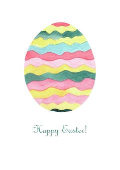 Easter card. watercolor striped egg spring bright colors and text on white background. decorative card