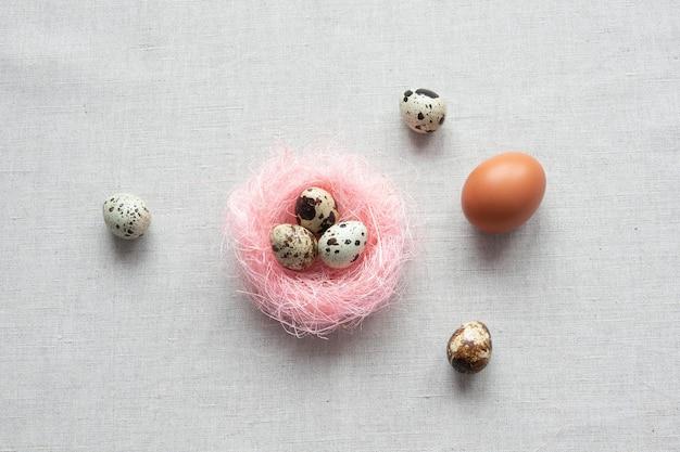 木の上の巣に卵が入ったイースターカード。上面図