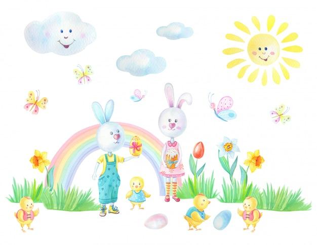 Пасхальная открытка с зайцами, цыплятами, радугой, яйцами, травой, цветами, бабочками