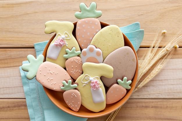 イースターのお祝い。おいしい自家製チョコレートクッキー。