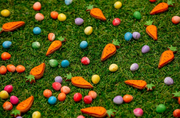 Easter chocolate eggs and carrots cookies on green grass