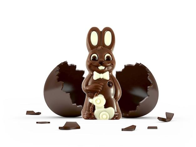 壊れたチョコレートの卵の殻のイースターチョコレートウサギ