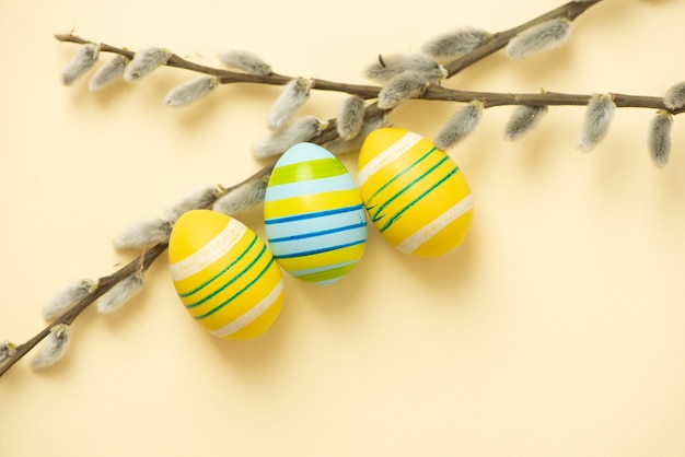 Easter colorful eggs and branches