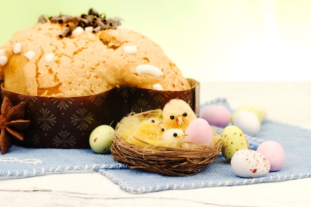 Easter  composition with chicken and dove cake