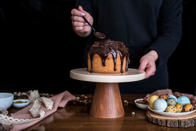 Easter composition with sweet bread, kulich and eggs