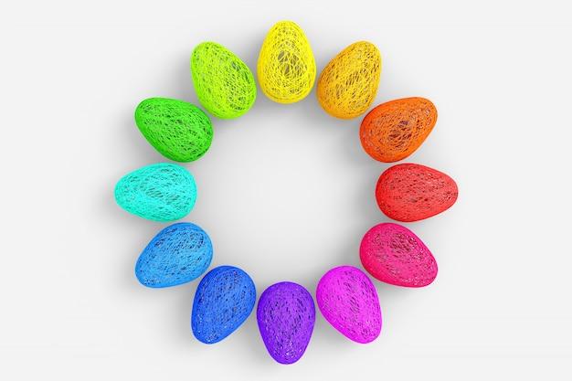 イースターのコンセプトです。たくさんの卵が絡み合った色のついた明るい糸を中心に空のスペースで円形に配置して織っています。 3 dストックイラスト。