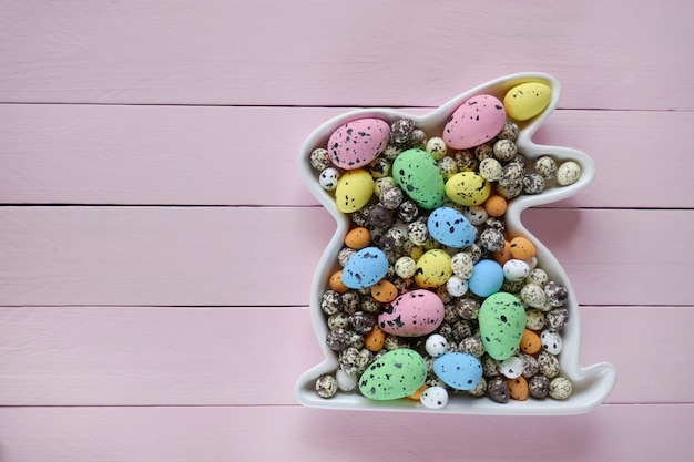 Easter concept.easter bunny decorative with easter eggs background