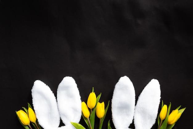 Концепция пасхи. квартира лежала с белыми пушистыми кроличьими ушками, желтыми тюльпанами на черном фоне.