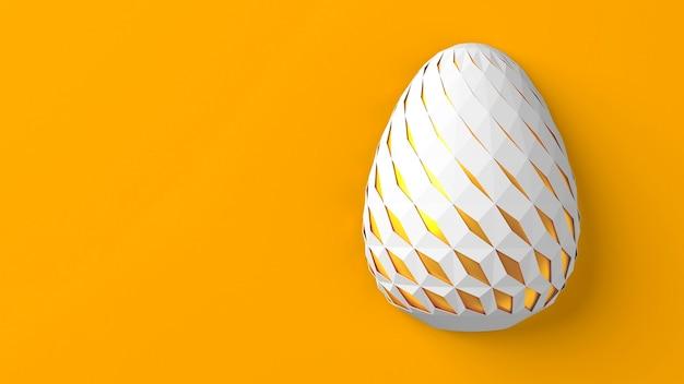 イースターのコンセプト。黄色の背景の表面に幾何学的なオリジナルの刻まれた変化するパターンを持つ単一の白い卵