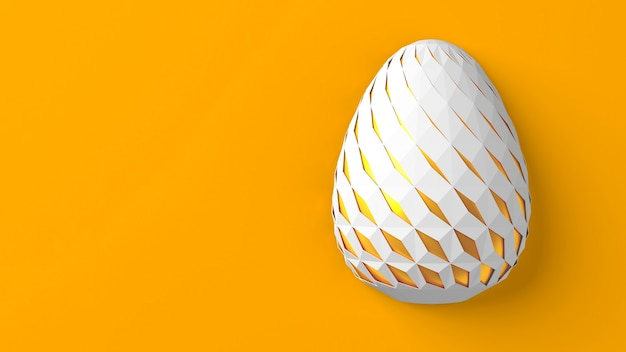 Easter concept. one single white egg with geometric original carved changing patterns on the surface on a yellow background