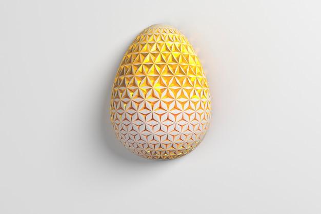 イースターのコンセプト。白い背景の表面に幾何学的なオリジナルの変化するパターンを持つ単一の白い金色の卵。 3dイラスト