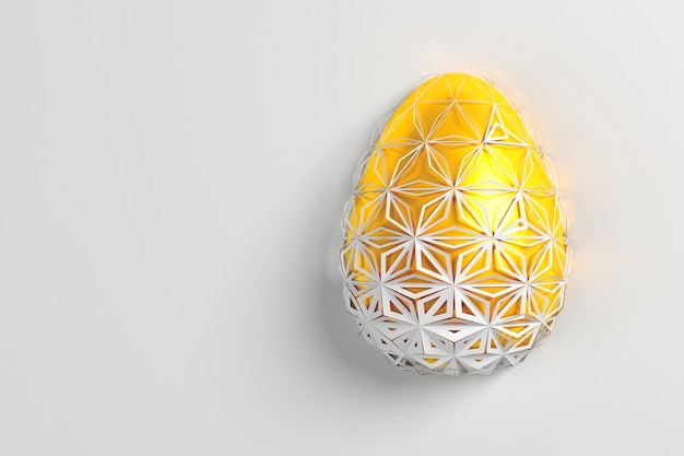 Easter concept. one single white golden egg with geometric original changing patterns on the surface on a white background. 3d illustration