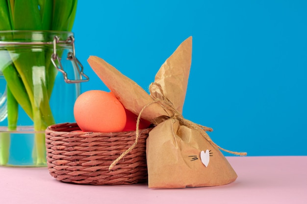 Easter concept with  bunny paper decoration with copy space. creative photo