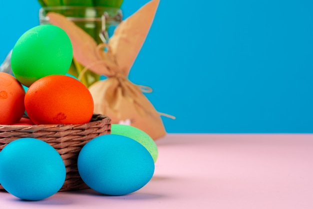 Easter concept with  bunny paper decoration