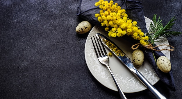 Easter concept with mimosa