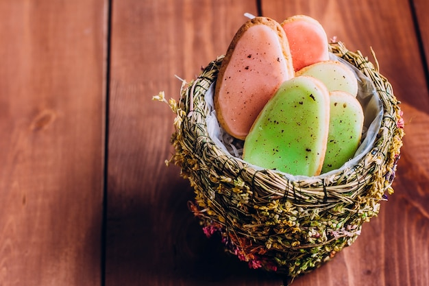 Easter cookies in shape of quail eggs