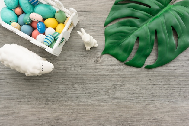 Easter day composition with decorative items