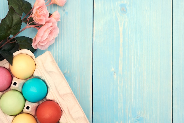 Easter decoration on the blue planks