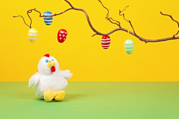 Easter decoration over the pastel background