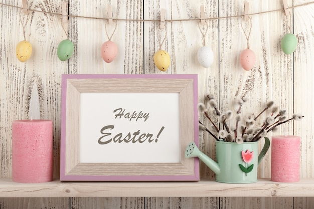 Easter decoration with holiday greeting, on wooden background
