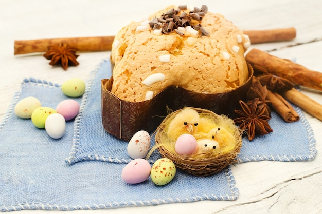 Easter dove and easter eggs- colomba pasquale