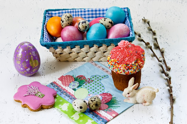 Easter. easter cake and easter eggs. spring. flowers symbols of easter.