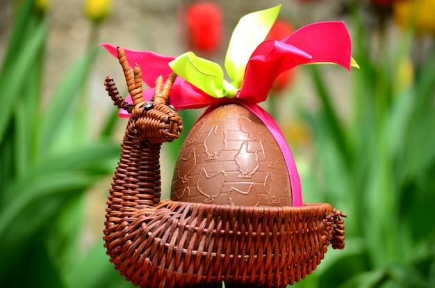 Easter egg in a basket