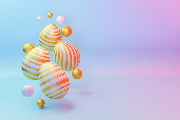 Пасхальное яйцо состав 3d рендеринга фона