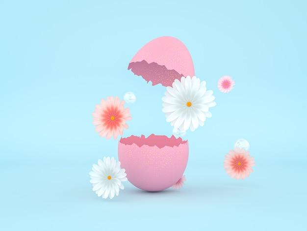春の花とコピースペースの3dレンダリングで割れたイースターエッグ