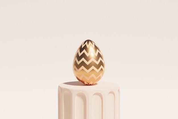 Пасхальное яйцо, украшенное золотом на бежевом подиуме