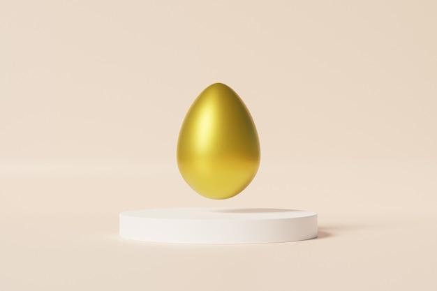 Пасхальное яйцо, украшенное золотом на белом подиуме, бежевая стена, весенняя апрельская праздничная открытка, 3d визуализация