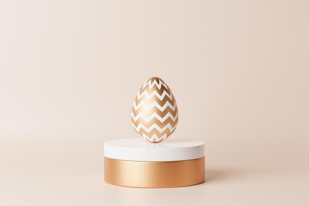 白い表彰台に金で飾られたイースターエッグ、等尺性の3dイラストレンダリング