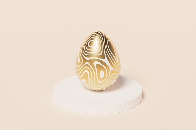 Easter egg decorated with gold on podium, beige wall, spring april holidays , isometric 3d illustration render