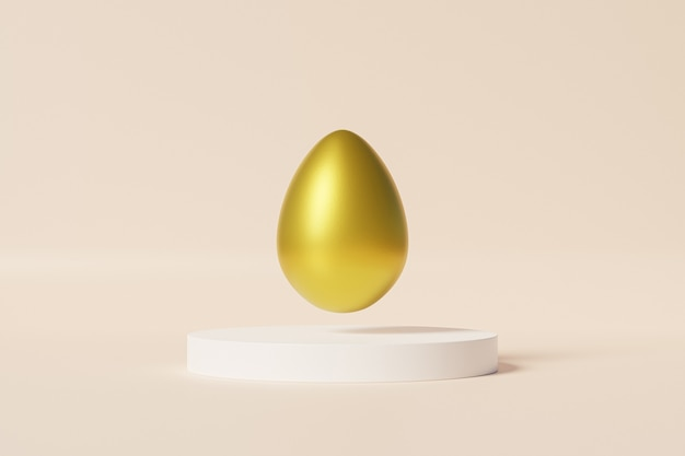 Easter egg decorated with gold on white podium, beige wall, spring april holidays card, 3d illustration render