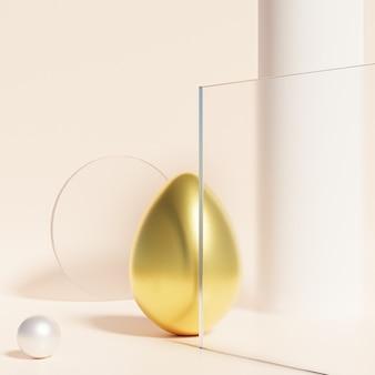 Пасхальное яйцо, украшенное золотом, с абстрактной витриной, бежевая стена, весенние апрельские праздники, 3d визуализация