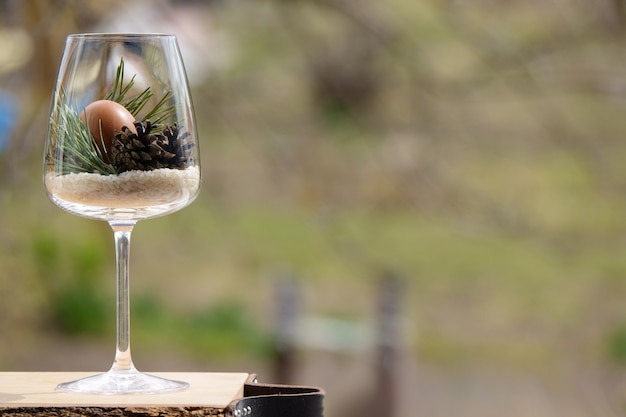 Easter egg in a glass decorated with natural cones and pine twig with copyspace